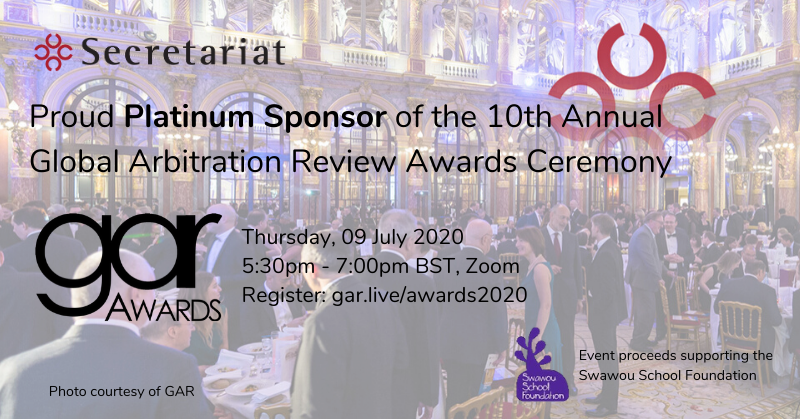 Platinum Sponsor of this year's 10th Annual Global Arbitration Review Awards Ceremony