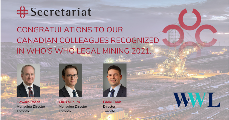 Secretariat Canadian Leaders Named to Who's Who Legal Mining 2021