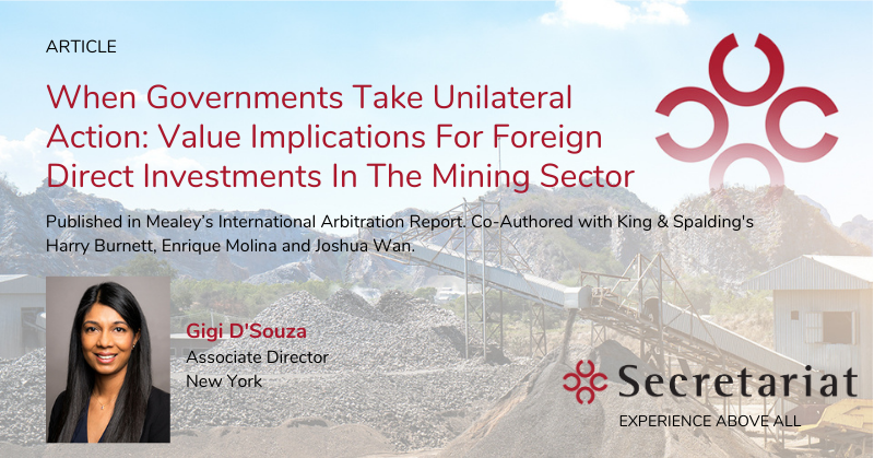 When Governments Take Unilateral Action: Value Implications for Foreign Direct Investments in the Mining Sector